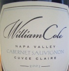 2001 William Cole - Cabernet Sauvignon Cuvee Claire