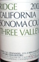 2010 Ridge - Zinfandel Three Valleys