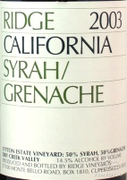 2003 Ridge - Syrah/Grenache Lytton Estate